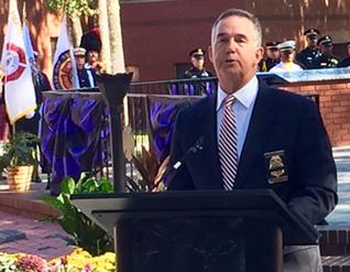 CFO Atwater addresses the Fallen Firefighter Memorial service.