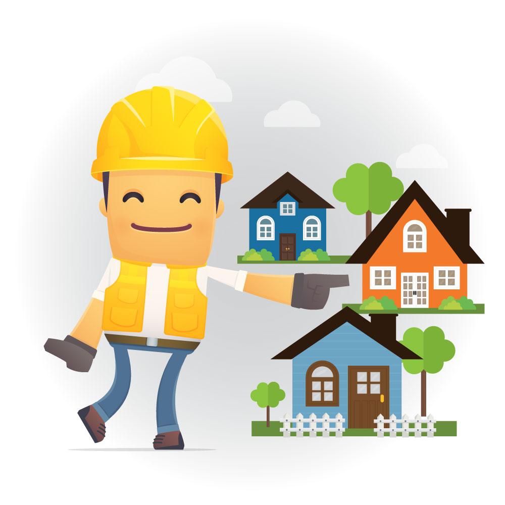 Contratista señalando alegremente otras casas del vecindario