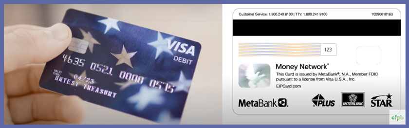 hand holding Visa credit card and the image of the back of card